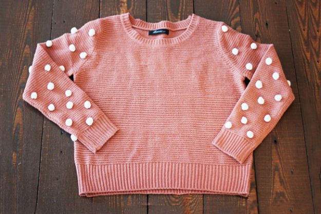 DIY Clothes for Winter - Cozy Pom-Pom-Sleeved Sweater - Cool Fashion Ideas to Make for Cold Weather - Handmade Scarves, Hats, Coats, Gloves and Mittens, Sweaters and Wraps - Easy Sewing Tutorials and No Sew Items - Creative and Quick Homemade Gifts and Christmas Present Ideas http://diyjoy.com/diy-clothes-winter