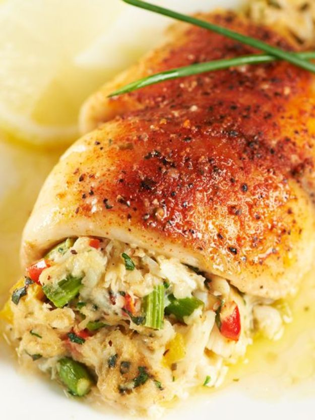 Tilapia Recipes - Crab & Asparagus-Stuffed Tilapia - Best Recipe Ideas for Tilapia Fish - Dinner, Lunch, Snacks and Appetizers - Healthy Foods, Gluten Free Low Carb and Keto Friendly Dishes - Salads, Pastas and Easy Weeknight Dinners, Lunches for Work - Broiled, Grilled, Lemon Baked, Fried and Quick Ways to Make Tilapia http://diyjoy.com/tilapia-recipes
