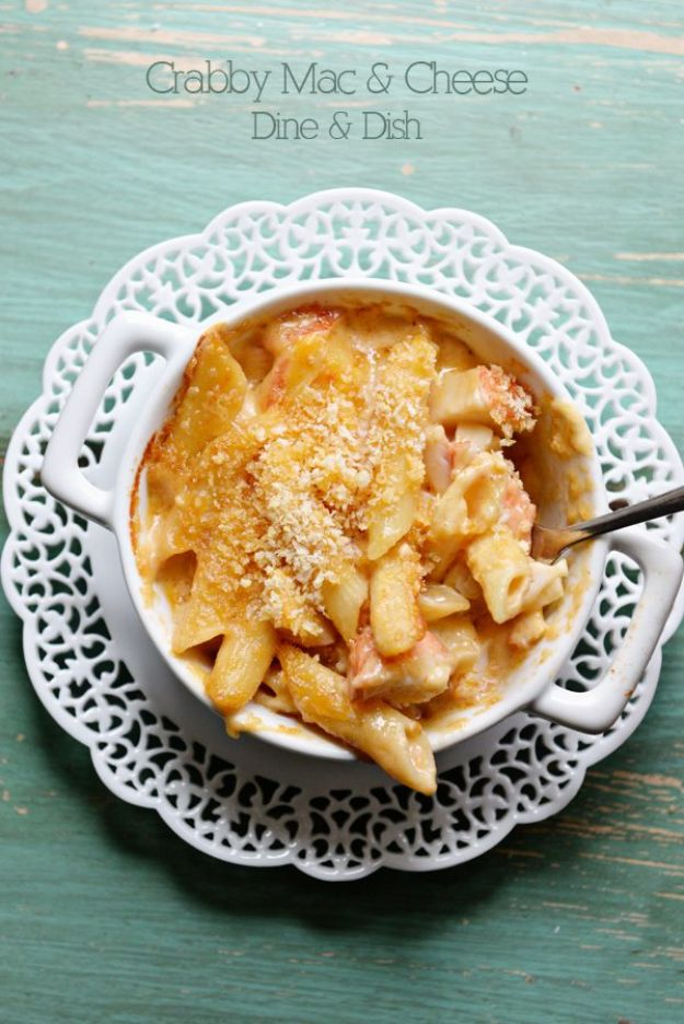 Macaroni and Cheese Recipes - Crab Mac and Cheese - Best Mac and Cheese Recipe - Baked, Crockpot, Stovetop and Easy, Quick Variations - Homemade, Creamy Sauce - Pioneer Woman Favorites - Velveets Cheddar and 3 Cheese Bacon, Breadcrumbs