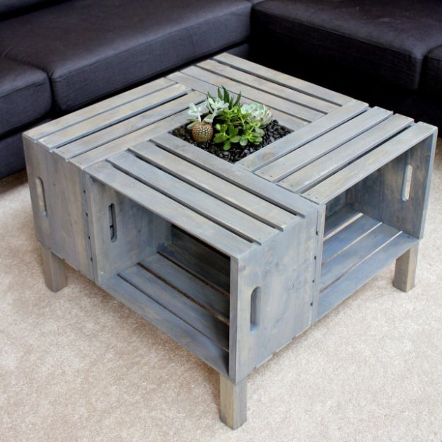 Cheap DIY Living Room Decor Ideas - Crate Coffee Table - Cool Modern, Rustic Creative Farmhouse Home Decor On A Budget - Do It Yourself Coffee Tables, Wall Art, Rugs, Pillows and Chairs. Step by Step Tutorials and Instructions http://diyjoy.com/cheap-diy-living-room-decor