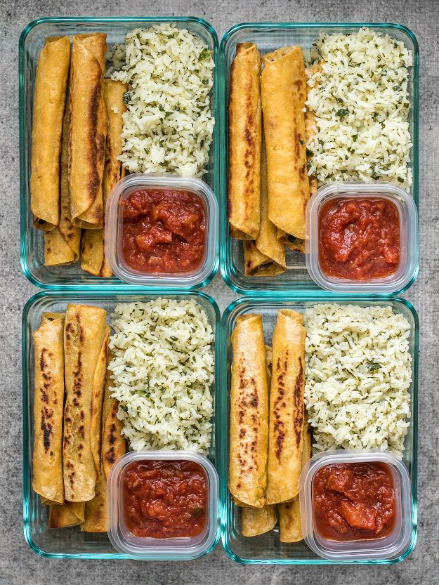 Meal Prep Ideas - Creamy Black Bean Taquito Meal Prep - Recipes and Planning Tips for Making a Week of Meals - Easy, Healthy Recipe Ideas to Make Ahead - Weeknight Dinners Lunches - Crockpot Lunches, Slow Cooker Meals, Freeze Ahead http://diyjoy.com/meal-prep-ideas