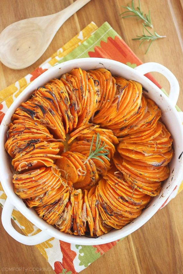 Sweet Potato Recipes - Crispy Roasted Rosemary Sweet Potatoes - Easy Recipe Ideas for Sweet Potatoes in the Crockpot, Casserole Dishes, Baked, Mashed, Candied and Roastedd - Healthy Versions of Sweet Potatoes for Thanksgiving - Dinner, Lunch and Side Dishes http://diyjoy.com/sweet-potato-recipes