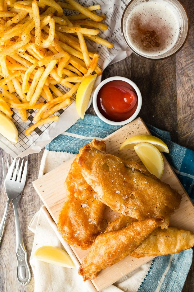 Tilapia Recipes - Crunchy Beer Battered Fish and Chips - Best Recipe Ideas for Tilapia Fish - Dinner, Lunch, Snacks and Appetizers - Healthy Foods, Gluten Free Low Carb and Keto Friendly Dishes - Salads, Pastas and Easy Weeknight Dinners, Lunches for Work - Broiled, Grilled, Lemon Baked, Fried and Quick Ways to Make Tilapia http://diyjoy.com/tilapia-recipes