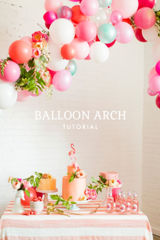 DIY Baby Shower Decorations - DIY Balloon Arch - Cute and Easy Ways to Decorate for A Baby Shower Ideas in Pink and Blue for Boys and Girls- Games and Party Decor - Banners, Cake, Invitations and Favors http://diyjoy.com/diy-baby-shower-decorations