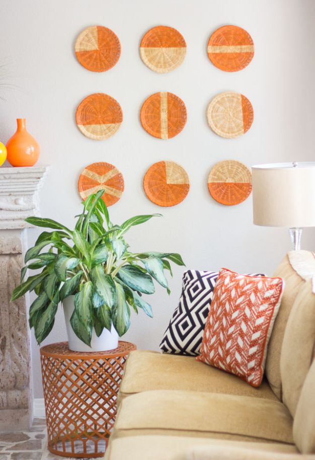 Cheap DIY Living Room Decor Ideas - DIY Basket Wall Art - Cool Modern, Rustic Creative Farmhouse Home Decor On A Budget - Do It Yourself Coffee Tables, Wall Art, Rugs, Pillows and Chairs. Step by Step Tutorials and Instructions http://diyjoy.com/cheap-diy-living-room-decor