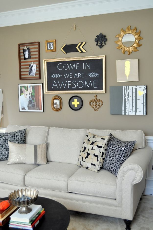 Cheap DIY Living Room Decor Ideas - DIY Black Gold Gallery Wall - Cool Modern, Rustic Creative Farmhouse Home Decor On A Budget - Do It Yourself Coffee Tables, Wall Art, Rugs, Pillows and Chairs. Step by Step Tutorials and Instructions http://diyjoy.com/cheap-diy-living-room-decor