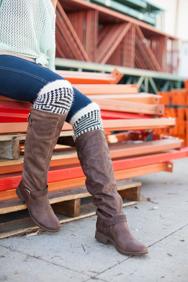 DIY Clothes for Winter - DIY Boot Socks - Cool Fashion Ideas to Make for Cold Weather - Handmade Scarves, Hats, Coats, Gloves and Mittens, Sweaters and Wraps - Easy Sewing Tutorials and No Sew Items - Creative and Quick Homemade Gifts and Christmas Present Ideas http://diyjoy.com/diy-clothes-winter