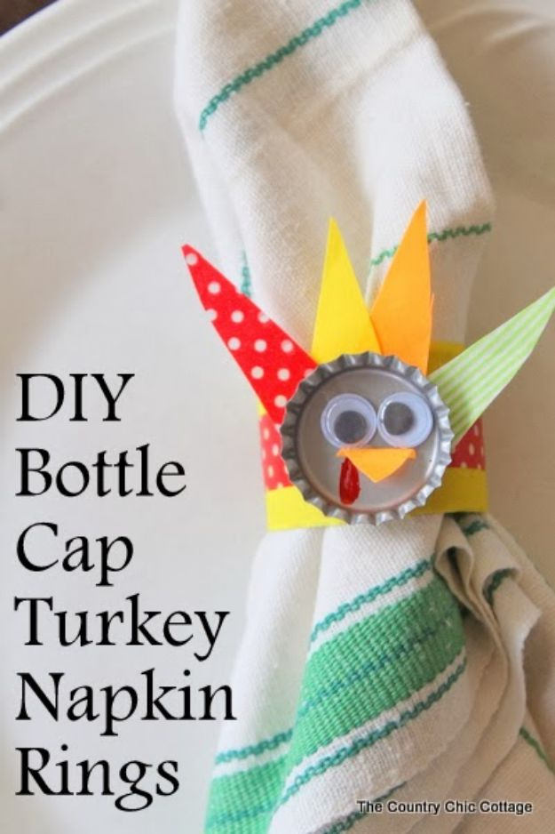 DIY Bottle Cap Crafts - DIY Bottle Cap Turkey Napkin Rings - Make Jewelry Projects, Creative Craft Ideas, Gift Ideas for Men, Women and Kids, KeyChains and Christmas Ornaments, Presents