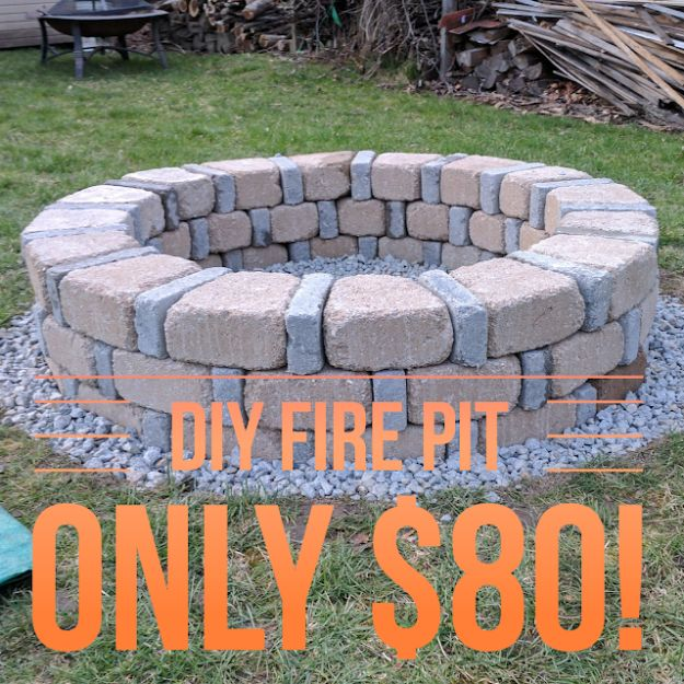 DIY Firepits - DIY Brick Fire Pit For Only $80 - Step by Step Tutorial for Raised Firepit , In Ground, Portable, Brick, Stone, Metal and Cinder Block Outdoor Fireplace #outdoors #diy