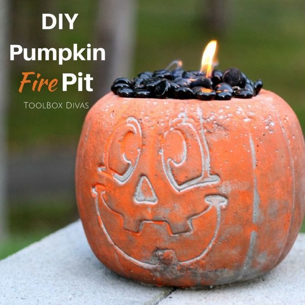 DIY Firepits - DIY Concrete Pumpkin Fire Pit - Step by Step Tutorial for Raised Firepit , In Ground, Portable, Brick, Stone, Metal and Cinder Block Outdoor Fireplace #outdoors #diy