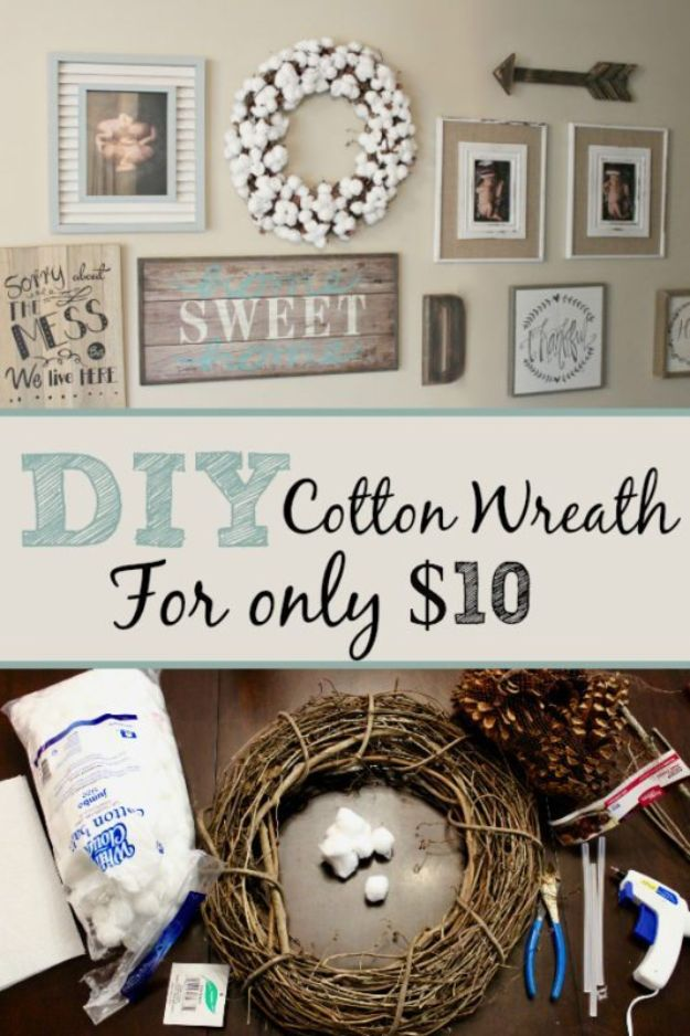 Cheap DIY Living Room Decor Ideas -DIY Cotton Wreath For Only $10 - Cool Modern, Rustic Creative Farmhouse Home Decor On A Budget - Do It Yourself Coffee Tables, Wall Art, Rugs, Pillows and Chairs. Step by Step Tutorials and Instructions #diydecor #livingroom #decorideas