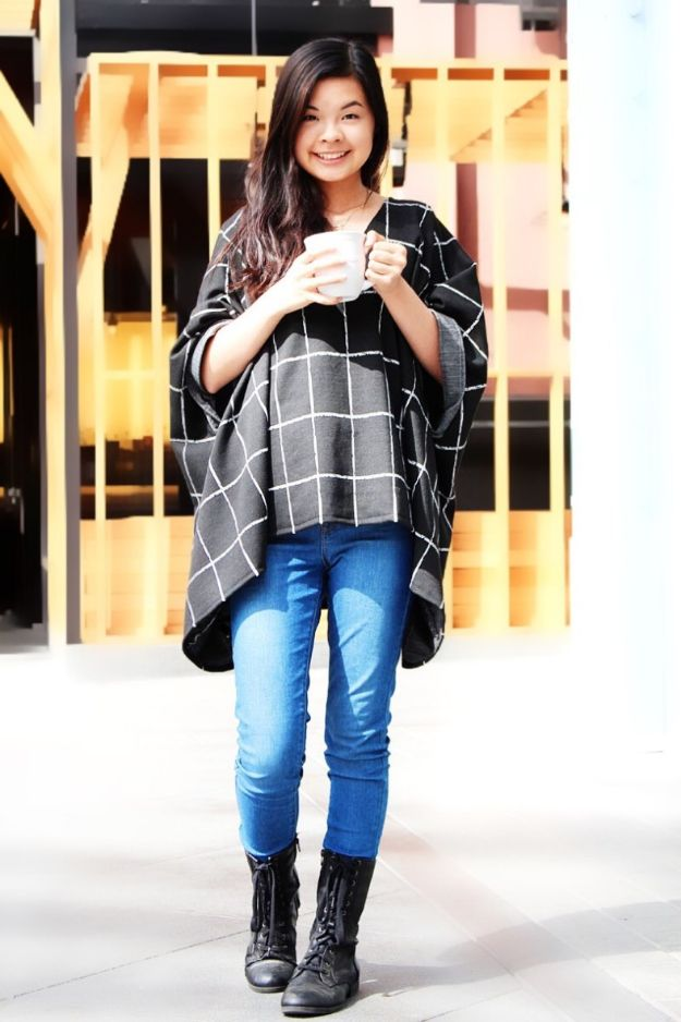 DIY Clothes for Winter - DIY Cozy Blanket Top - Cool Fashion Ideas to Make for Cold Weather - Handmade Scarves, Hats, Coats, Gloves and Mittens, Sweaters and Wraps - Easy Sewing Tutorials and No Sew Items - Creative and Quick Homemade Gifts and Christmas Present Ideas http://diyjoy.com/diy-clothes-winter