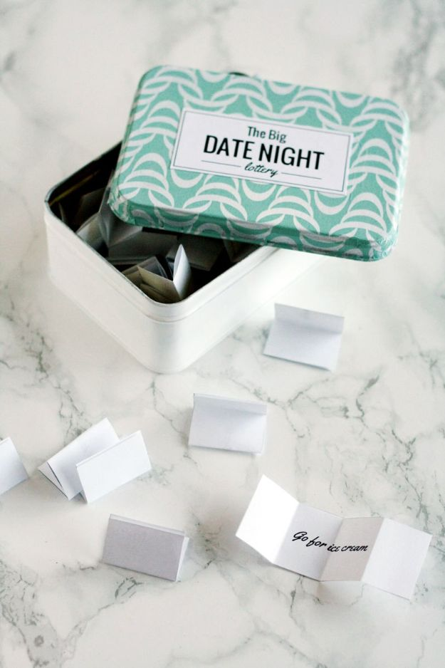 DIY anniversary Gifts - DIY Date Night Lottery Tin - Homemade, Handmade Gift Ideas for Wedding Anniversaries - Cool, Easy and inexpensive Gifts To Make for Husband or Wife #anniverary #diy #gifts