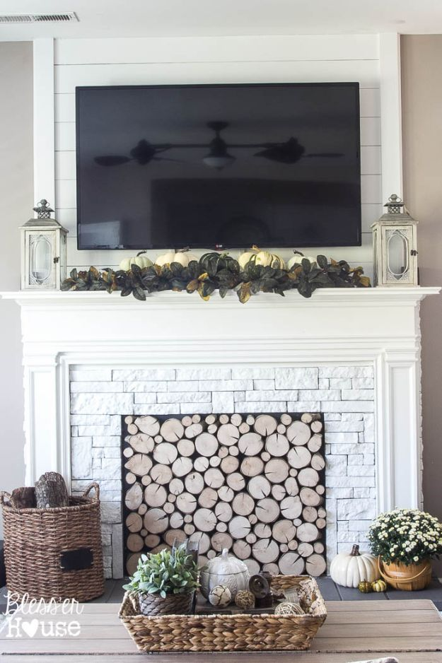 Cheap DIY Living Room Decor Ideas - DIY Faux Fireplace - Cool Modern, Rustic Creative Farmhouse Home Decor On A Budget - Do It Yourself Coffee Tables, Wall Art, Rugs, Pillows and Chairs. Step by Step Tutorials and Instructions http://diyjoy.com/cheap-diy-living-room-decor