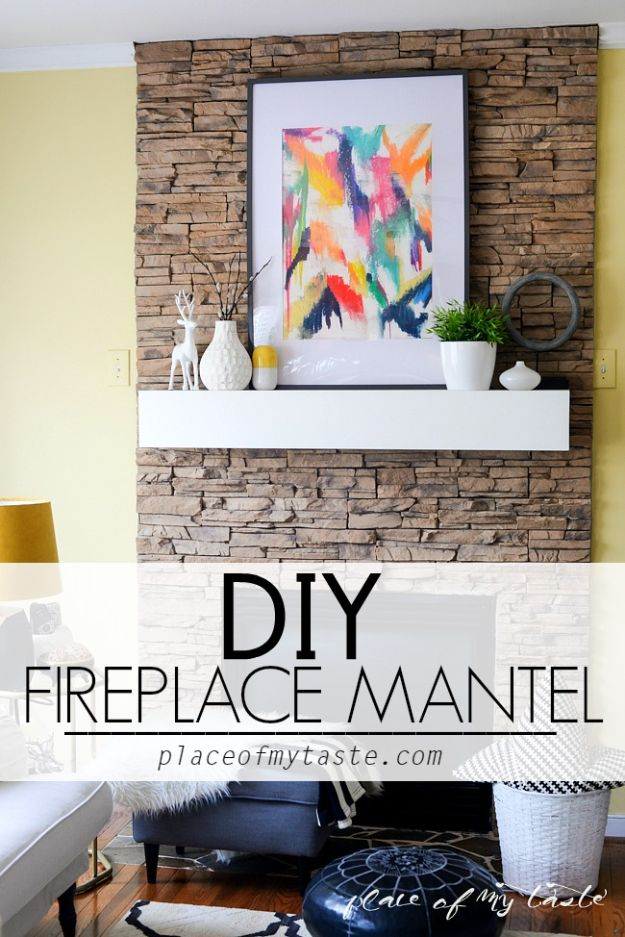 Cheap DIY Living Room Decor Ideas - DIY Fireplace Mantel - Cool Modern, Rustic Creative Farmhouse Home Decor On A Budget - Do It Yourself Coffee Tables, Wall Art, Rugs, Pillows and Chairs. Step by Step Tutorials and Instructions #diydecor #livingroom #decorideas