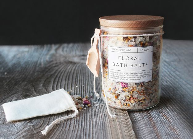 Cheap DIY Gift Ideas - DIY Floral Bath Salts - List of Handmade Gifts on A Budget and Inexpensive Christmas Presents - Do It Yourself Gift Idea for Family and Friends, Mom and Dad, For Guys and Women, Boyfriend, Girlfriend, BFF, Kids and Teens - Dollar Store and Dollar Tree Crafts, Home Decor, Room Accessories and Fun Things to Make At Home #diygifts #christmas #giftideas #diy