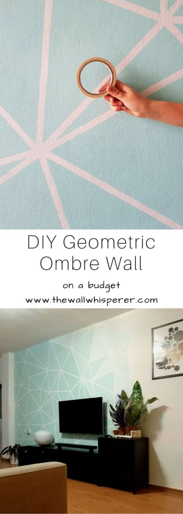 Cheap DIY Living Room Decor Ideas - DIY Geometric Wallpaper - Cool Modern, Rustic Creative Farmhouse Home Decor On A Budget - Do It Yourself Coffee Tables, Wall Art, Rugs, Pillows and Chairs. Step by Step Tutorials and Instructions #diydecor #livingroom #decorideas