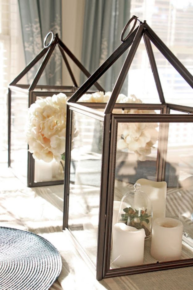 Cheap DIY Living Room Decor Ideas - DIY Hurricane Lanterns - Cool Modern, Rustic Creative Farmhouse Home Decor On A Budget - Do It Yourself Coffee Tables, Wall Art, Rugs, Pillows and Chairs. Step by Step Tutorials and Instructions #diydecor #livingroom #decorideas