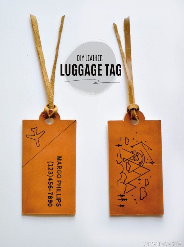 Cheap Last Minute Gifts DIY - DIY Leather Luggage Tags- Inexpensive DIY Gift Ideas To Make On A Budget - Homemade Christmas and Birthday Presents to Make For Mom, Dad, Daughter & Son, Kids, Friends and Family - Cool and Creative Crafts, Home Decor and Accessories, Fun Gadgets and Phone Stuff - Quick Gifts From Dollar Tree Items #diygifts #cheapgifts #christmasgifts