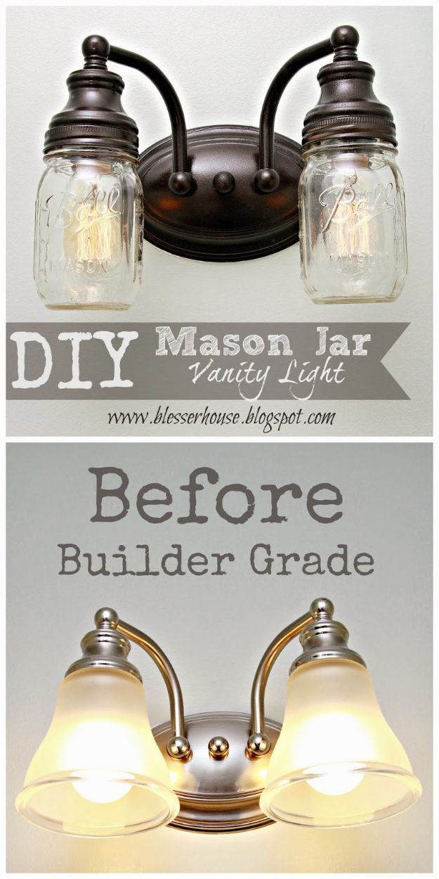 Cheap DIY Living Room Decor Ideas - DIY Mason Jar Vanity Light - Cool Modern, Rustic Creative Farmhouse Home Decor On A Budget - Do It Yourself Coffee Tables, Wall Art, Rugs, Pillows and Chairs. Step by Step Tutorials and Instructions http://diyjoy.com/cheap-diy-living-room-decor