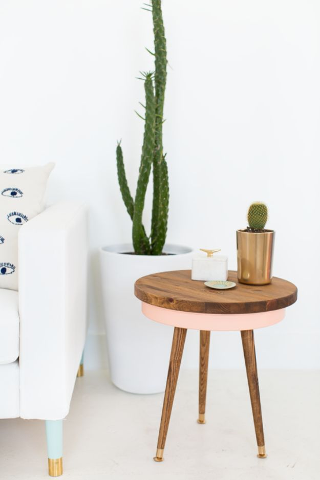 Cheap DIY Living Room Decor Ideas - DIY Mid Century Side Table - Cool Modern, Rustic Creative Farmhouse Home Decor On A Budget - Do It Yourself Coffee Tables, Wall Art, Rugs, Pillows and Chairs. Step by Step Tutorials and Instructions #diydecor #livingroom #decorideas