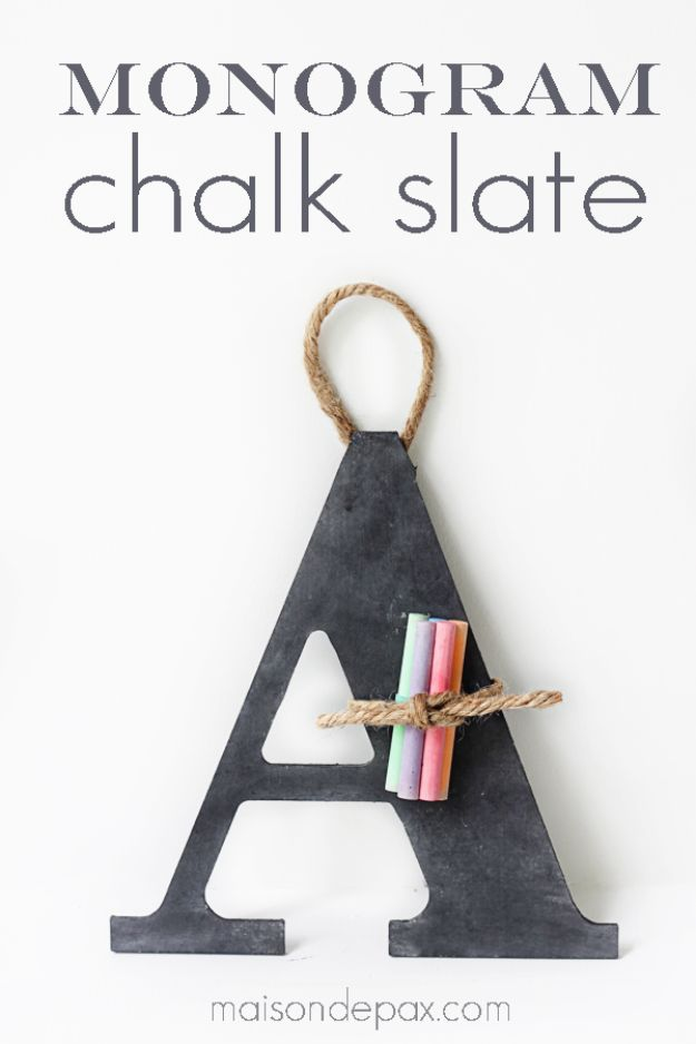 Cheap Last Minute Gifts DIY - DIY Monogram Chalk Slate - Inexpensive DIY Gift Ideas To Make On A Budget - Homemade Christmas and Birthday Presents to Make For Mom, Dad, Daughter & Son, Kids, Friends and Family - Cool and Creative Crafts, Home Decor and Accessories, Fun Gadgets and Phone Stuff - Quick Gifts From Dollar Tree Items #diygifts #cheapgifts #christmasgifts