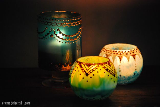 Cheap DIY Living Room Decor Ideas - DIY Moroccan Candle Holders - Cool Modern, Rustic Creative Farmhouse Home Decor On A Budget - Do It Yourself Coffee Tables, Wall Art, Rugs, Pillows and Chairs. Step by Step Tutorials and Instructions #diydecor #livingroom #decorideas