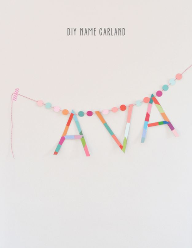 DIY Baby Shower Decorations - DIY Name Garland - Cute and Easy Ways to Decorate for A Baby Shower Ideas in Pink and Blue for Boys and Girls- Games and Party Decor - Banners, Cake, Invitations and Favors http://diyjoy.com/diy-baby-shower-decorations