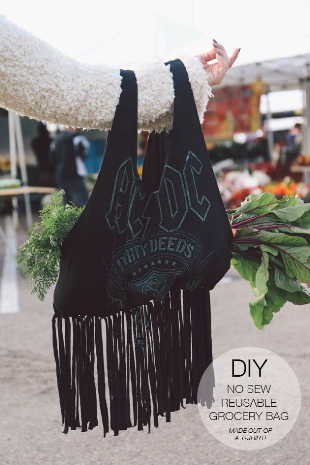 DIY Shopping Bags - DIY No Sew Reusable Grocery Bag - Easy Drawstring Bag Tutorials - How To Make A Shopping Bag - Use Fabric Scraps, Old Denim Jeans, Upcycled Items - Cute Monogrammed Ideas, Painted Bags and Sewing Tutorials for Beginners http://diyjoy.com/diy-drawstring-bags