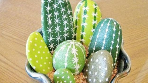 Cheap Last Minute Gifts DIY - DIY Painted Cactus Rocks - Inexpensive DIY Gift Ideas To Make On A Budget - Homemade Christmas and Birthday Presents to Make For Mom, Dad, Daughter & Son, Kids, Friends and Family - Cool and Creative Crafts, Home Decor and Accessories, Fun Gadgets and Phone Stuff - Quick Gifts From Dollar Tree Items #diygifts #cheapgifts #christmasgifts
