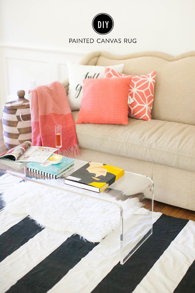 Cheap DIY Living Room Decor Ideas - DIY Painted Canvas Rug - Cool Modern, Rustic Creative Farmhouse Home Decor On A Budget - Do It Yourself Coffee Tables, Wall Art, Rugs, Pillows and Chairs. Step by Step Tutorials and Instructions http://diyjoy.com/cheap-diy-living-room-decor