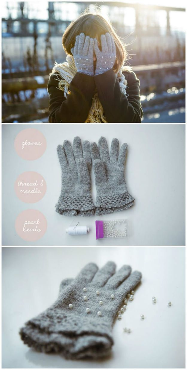 DIY Clothes for Winter - DIY Pearl Gloves - Cool Fashion Ideas to Make for Cold Weather - Handmade Scarves, Hats, Coats, Gloves and Mittens, Sweaters and Wraps - Easy Sewing Tutorials and No Sew Items - Creative and Quick Homemade Gifts and Christmas Present Ideas