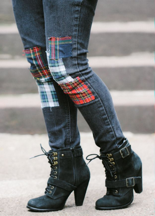 DIY Clothes for Winter - DIY Plaid Patchwork Jeans - Cool Fashion Ideas to Make for Cold Weather - Handmade Scarves, Hats, Coats, Gloves and Mittens, Sweaters and Wraps - Easy Sewing Tutorials and No Sew Items - Creative and Quick Homemade Gifts and Christmas Present Ideas