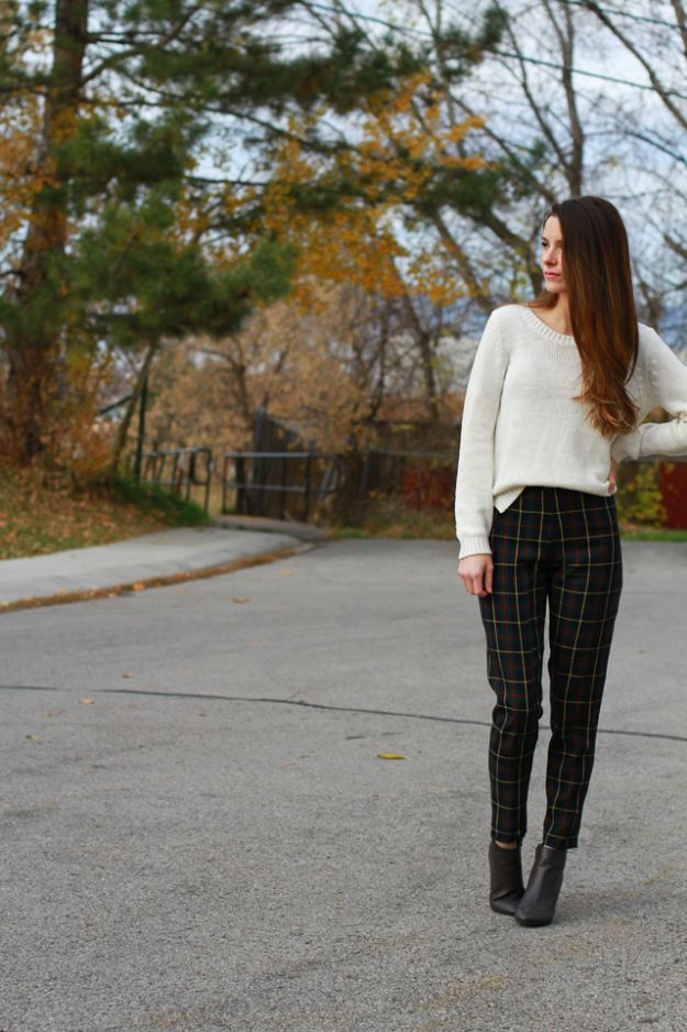 DIY Clothes for Winter - DIY Plaid Trousers - Cool Fashion Ideas to Make for Cold Weather - Handmade Scarves, Hats, Coats, Gloves and Mittens, Sweaters and Wraps - Easy Sewing Tutorials and No Sew Items - Creative and Quick Homemade Gifts and Christmas Present Ideas http://diyjoy.com/diy-clothes-winter