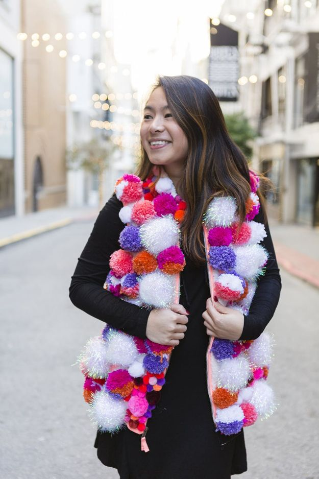 DIY Clothes for Winter - DIY Pom-Pom Vest - Cool Fashion Ideas to Make for Cold Weather - Handmade Scarves, Hats, Coats, Gloves and Mittens, Sweaters and Wraps - Easy Sewing Tutorials and No Sew Items - Creative and Quick Homemade Gifts and Christmas Present Ideas