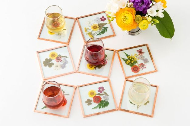 Cheap Last Minute Gifts DIY - DIY Pressed Flower Coasters - Inexpensive DIY Gift Ideas To Make On A Budget - Homemade Christmas and Birthday Presents to Make For Mom, Dad, Daughter & Son, Kids, Friends and Family - Cool and Creative Crafts, Home Decor and Accessories, Fun Gadgets and Phone Stuff - Quick Gifts From Dollar Tree Items #diygifts #cheapgifts #christmasgifts