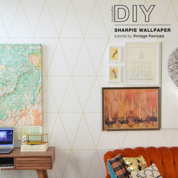 Wallpaper Tips and Tricks - DIY Sharpie Wallpaper - Easy DIY Wallpapering Tutorials - How to Hang Wall Paper for Beginners - Step by Step Instructions and Cool Hacks for Hanging Wall Papers http://diyjoy.com/wallpaper-tips-tricks