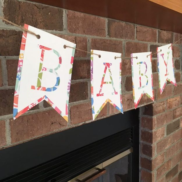 DIY Baby Shower Decorations - DIY Simple Baby Banner - Cute and Easy Ways to Decorate for A Baby Shower Ideas in Pink and Blue for Boys and Girls- Games and Party Decor - Banners, Cake, Invitations and Favors http://diyjoy.com/diy-baby-shower-decorations