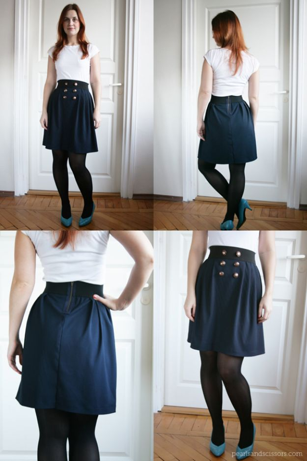 DIY Clothes for Winter - DIY Simple Pleated Skirt - Cool Fashion Ideas to Make for Cold Weather - Handmade Scarves, Hats, Coats, Gloves and Mittens, Sweaters and Wraps - Easy Sewing Tutorials and No Sew Items - Creative and Quick Homemade Gifts and Christmas Present Ideas