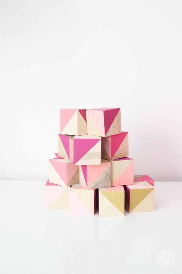 DIY Baby Shower Decorations - DIY Stacking Blocks - Cute and Easy Ways to Decorate for A Baby Shower Ideas in Pink and Blue for Boys and Girls- Games and Party Decor - Banners, Cake, Invitations and Favors http://diyjoy.com/diy-baby-shower-decorations