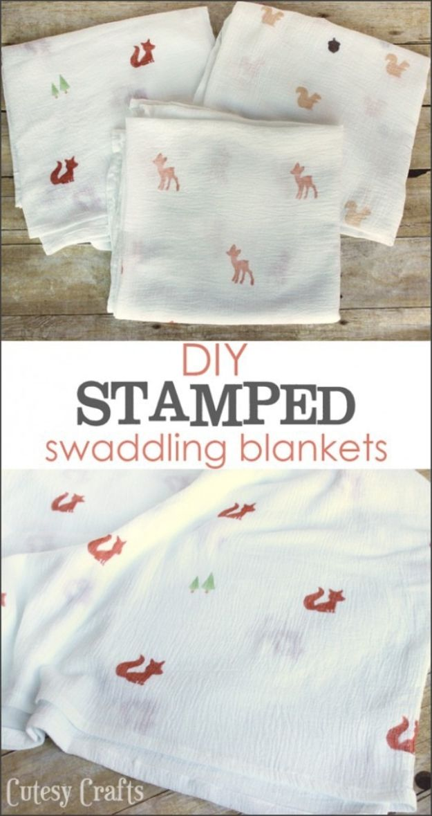 DIY Baby Blankets - DIY Stamped Muslin Swaddling Blankets - Easy No Sew Ideas for Minky Blankets, Quilt Tutorials, Crochet Projects, Blanket Projects for Boy and Girl - How To Make a Blanket By Hand With Fleece, Flannel, Knit and Fabric Scraps - Personalized and Monogrammed Ideas - Cute Cheap Gifts for Babies http://diyjoy.com/diy-baby-blankets