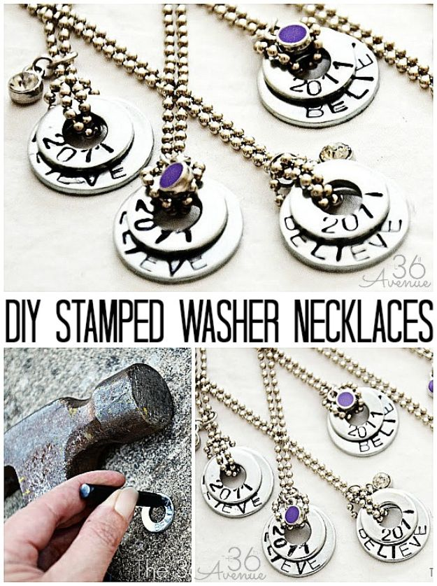 Cheap Last Minute Gifts DIY - DIY Stamped Washer Necklaces - Inexpensive DIY Gift Ideas To Make On A Budget - Homemade Christmas and Birthday Presents to Make For Mom, Dad, Daughter & Son, Kids, Friends and Family - Cool and Creative Crafts, Home Decor and Accessories, Fun Gadgets and Phone Stuff - Quick Gifts From Dollar Tree Items #diygifts #cheapgifts #christmasgifts