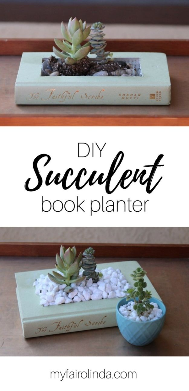 Cheap Last Minute Gifts DIY - DIY Succulent Book Planter - Inexpensive DIY Gift Ideas To Make On A Budget - Homemade Christmas and Birthday Presents to Make For Mom, Dad, Daughter & Son, Kids, Friends and Family - Cool and Creative Crafts, Home Decor and Accessories, Fun Gadgets and Phone Stuff - Quick Gifts From Dollar Tree Items http://diyjoy.com/cheap-last-minute-gifts