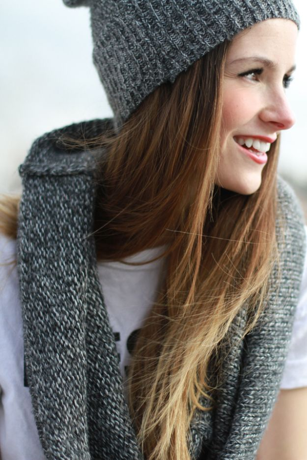DIY Clothes for Winter - DIY Sweater Into Infinity Scarf and Beanie - Cool Fashion Ideas to Make for Cold Weather - Handmade Scarves, Hats, Coats, Gloves and Mittens, Sweaters and Wraps - Easy Sewing Tutorials and No Sew Items - Creative and Quick Homemade Gifts and Christmas Present Ideas
