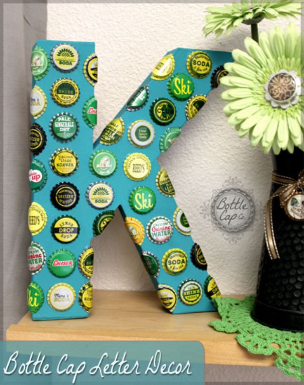 DIY Bottle Cap Crafts - DIY Vintage Bottle Cap Giant Letter - Make Jewelry Projects, Creative Craft Ideas, Gift Ideas for Men, Women and Kids, KeyChains and Christmas Ornaments, Presents http://diyjoy.com/diy-projects-bottle-caps