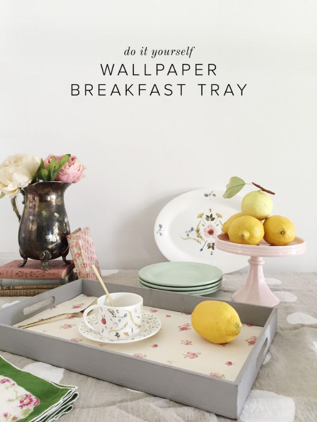 Wallpaper Tips and Tricks - DIY Wallpaper Breakfast Tray - Easy DIY Wallpapering Tutorials - How to Hang Wall Paper for Beginners - Step by Step Instructions and Cool Hacks for Hanging Wall Papers