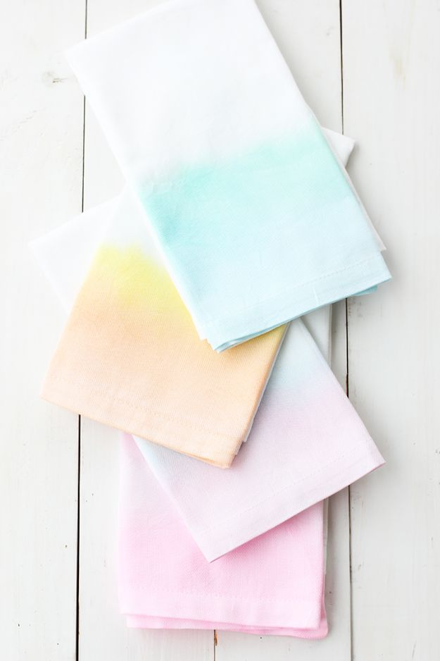 Cheap Last Minute Gifts DIY - DIY Watercolor Cloth Napkins - Inexpensive DIY Gift Ideas To Make On A Budget - Homemade Christmas and Birthday Presents to Make For Mom, Dad, Daughter & Son, Kids, Friends and Family - Cool and Creative Crafts, Home Decor and Accessories, Fun Gadgets and Phone Stuff - Quick Gifts From Dollar Tree Items http://diyjoy.com/cheap-last-minute-gifts