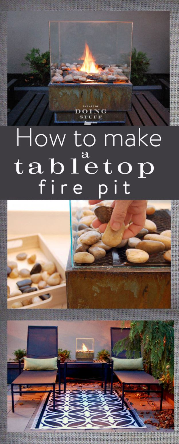 DIY Firepits - DIY Zen Tabletop Mini Firepit - Step by Step Tutorial for Raised Firepit , In Ground, Portable, Brick, Stone, Metal and Cinder Block Outdoor Fireplace #outdoors #diy