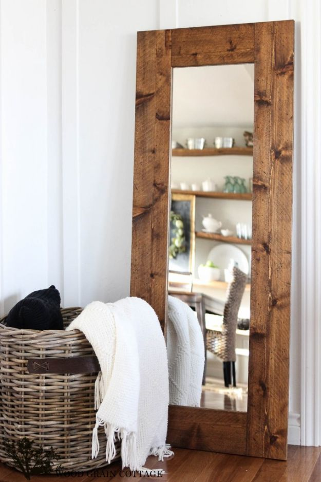 Cheap DIY Living Room Decor Ideas - DIY wood Framed Mirror - Cool Modern, Rustic Creative Farmhouse Home Decor On A Budget - Do It Yourself Coffee Tables, Wall Art, Rugs, Pillows and Chairs. Step by Step Tutorials and Instructions #diydecor #livingroom #decorideas