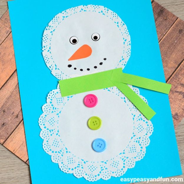 Winter Crafts for Toddlers and Kids - Doily Snowman Craft - Easy Art Projects and Craft Ideas for 2 Year Olds, Preschool Age Children - Simple Indoor Activities, Things To Make At Home in Wintertime - Snow, Snowflake and Icicle, Snowmen - Classroom Art Projects #kidscrafts #craftsforkids #winters